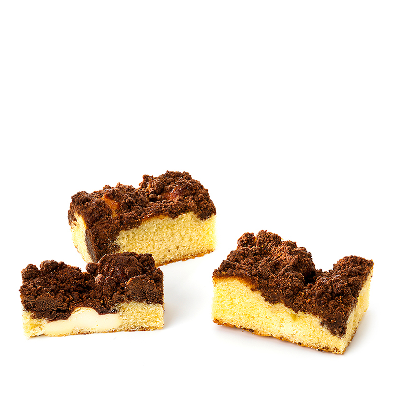 Tranches cake crumble, chocolat-cheesecake