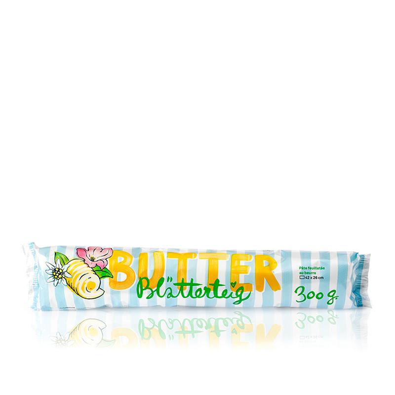 Butter-Blätterteig, eckig und ausgewallt
